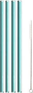 product image for SIMPLY STRAWS 4 PACK REUSABLE GLASS STRAW 8 INCH + CLEANING BRUSH 8 + CLEANING BRUSH MADE FOR CUPS, MASON JARS, YETI 30 OZ & TUMBLERS
