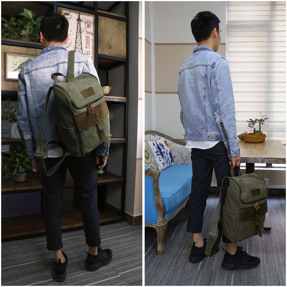 Outdoor Hiking Backpack, Men's Water Resistant Backpacks Specially High Density Thick Canvas Fabric Cotton Genuine Leather Rucksack Casual Bookbag by FRFUN (Image #3)