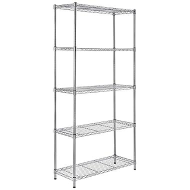 AmazonBasics 5-Shelf Shelving Storage Unit, Metal Organizer Wire Rack, Chrome Silver (36L x 14W x 72H)