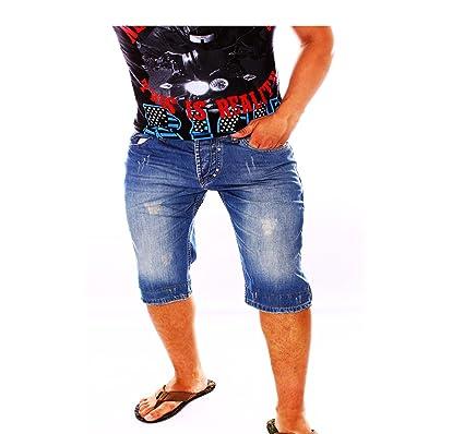 c1c3cd823a90 Jeans Bermuda für den Sommer   Shorts mit Taschen und Used Look    Stonewashed kurze Hose für Herren   Freizeithose im modernen Design-3347   Amazon.de  ...