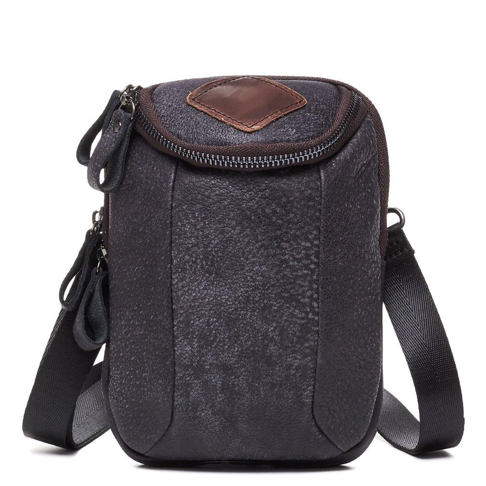 Crazy Horse Leather Belt Bag Vintage Fanny Packs Small Waist Bag black