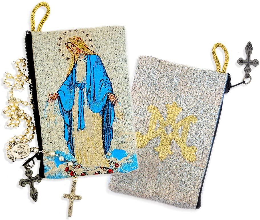 Religious Gift Blessed Virgin Mary Madonna and Child Icon Cloth Tapestry Rosary Zipper Close Pouch 5 3//8 Inch Alexandra Int/'l