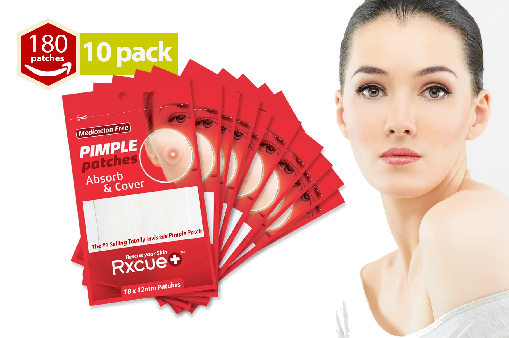 Rxcue Korean INVISIBLE Acne Blackhead Pimple Master Patches | 2, 5 AND 10 Pack | Super Thin and Medication Free | 12 mm size (10 Pack - 180 Pieces)