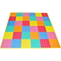 "ProSource Kids Foam Puzzle Floor Play Mat with Solid Colors, 36 Tiles (12""x12"") and 24 Borders"