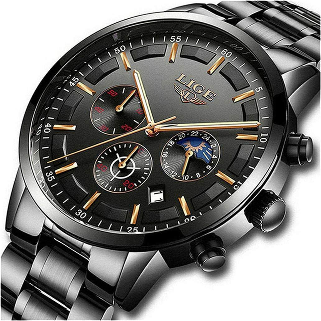 LIGE Relojes para Hombre Moda Acero Inoxidable Deportivo Analógico Reloj Cronógrafo Impermeable Negocios Reloj de Pulsera