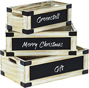 Greenstell Rustic White Wooden Crate with Chalkboard and Cutout Handle, Decorative Farmhouse Display Wood Storage Crate Box for Storing Fruit, Milk, Beer, Egg Set of 3