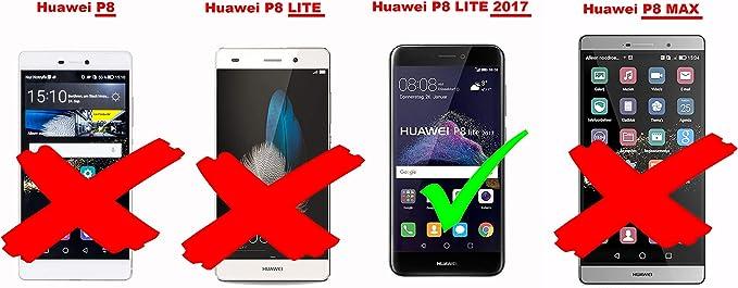 Cadorabo Funda Libro para Huawei P8 Lite 2017 en Negro Cometa ...