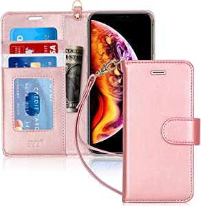 "FYY Case for iPhone Xs Max (6.5"") 2018, [Kickstand Feature] Luxury PU Leather Wallet Case Flip Folio Cover with [Card Slots] [Wrist Strap] for Apple iPhone Xs Max (6.5"") 2018 Rose Gold"