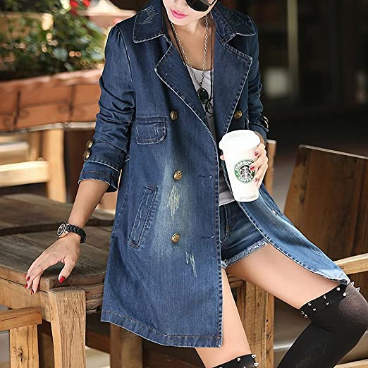Amazon.com: BABY-QQ New style Womens Denim Coats NEW Spring Turn-Down Collar Long Sleeve Chaquetas Mujer Vintage Loose Jaqueta Jeans Feminina BlueXXX-Large: ...
