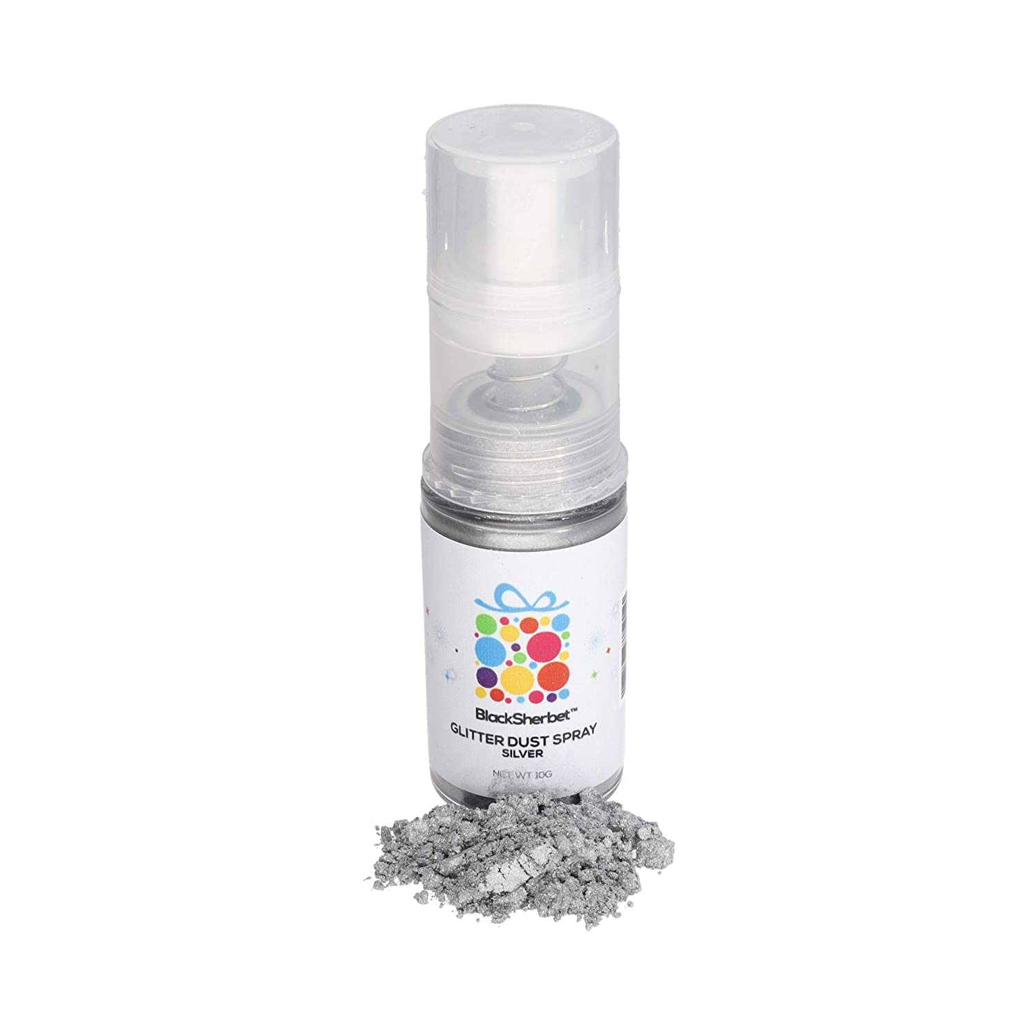 Edible Glitter Dust Spray, (10g) | 100% Edible | Food Grade | Cakes, Cupcakes, Decorating, Cake Pops, Cookies, Drinks, Gourmet Desserts, Chocolate. (Silver)