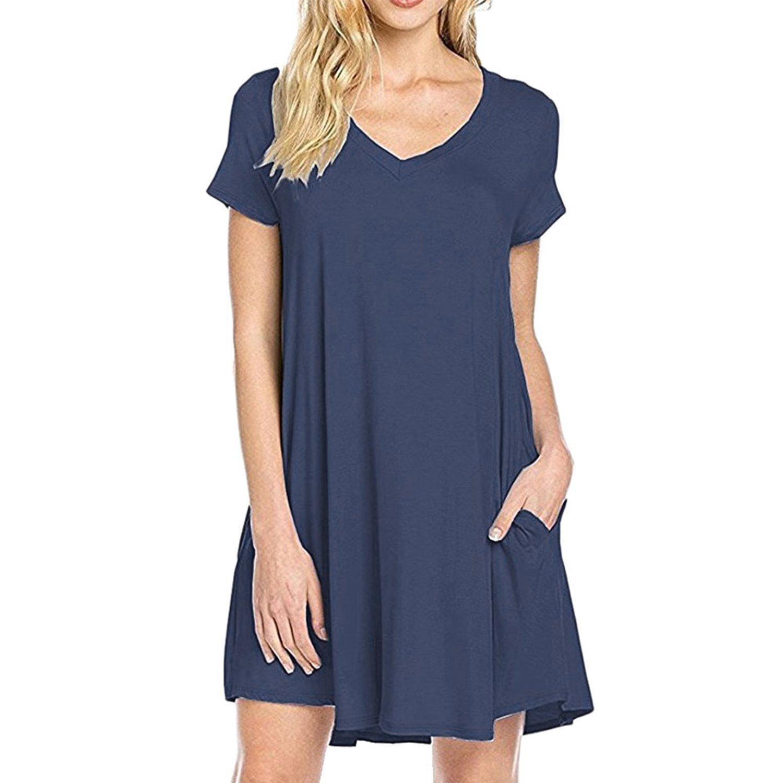 Petalum Damen Kleider Sommer Elegant Casual Basic Herzausschnitt Kurzarm A Linien Locker Stretch Leicht Lässig Taschen T-Shirt Kleid Sommerkleid Freizeitkleid