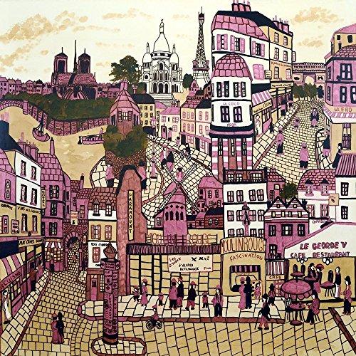 ArtzFolio Parisian Street Scenes Paris France Unframed Premium Canvas Painting 56 X 56Inch