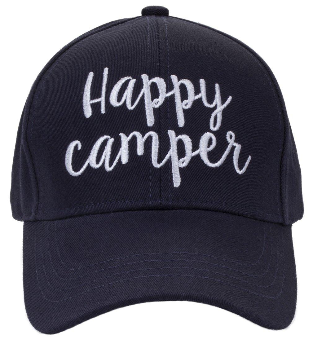 H-2018-HC-31 Saying Baseball Cap - Happy Camper (Navy)
