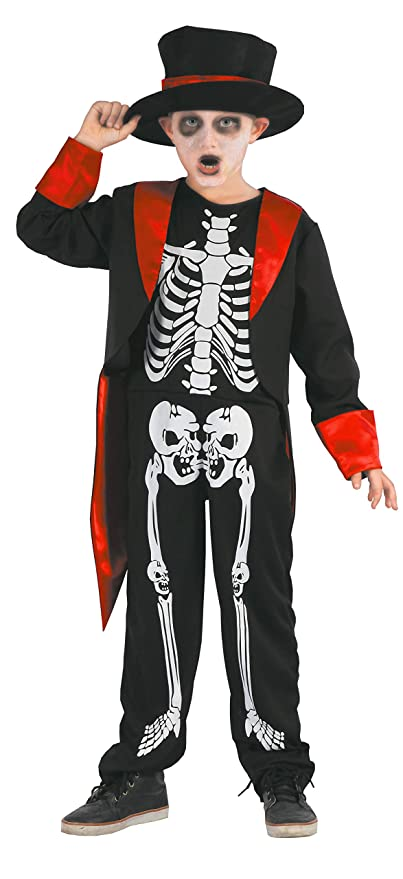 Magicoo Gentleman Skelett Kostüm Kinder Jungen Schwarz Rot Weiß