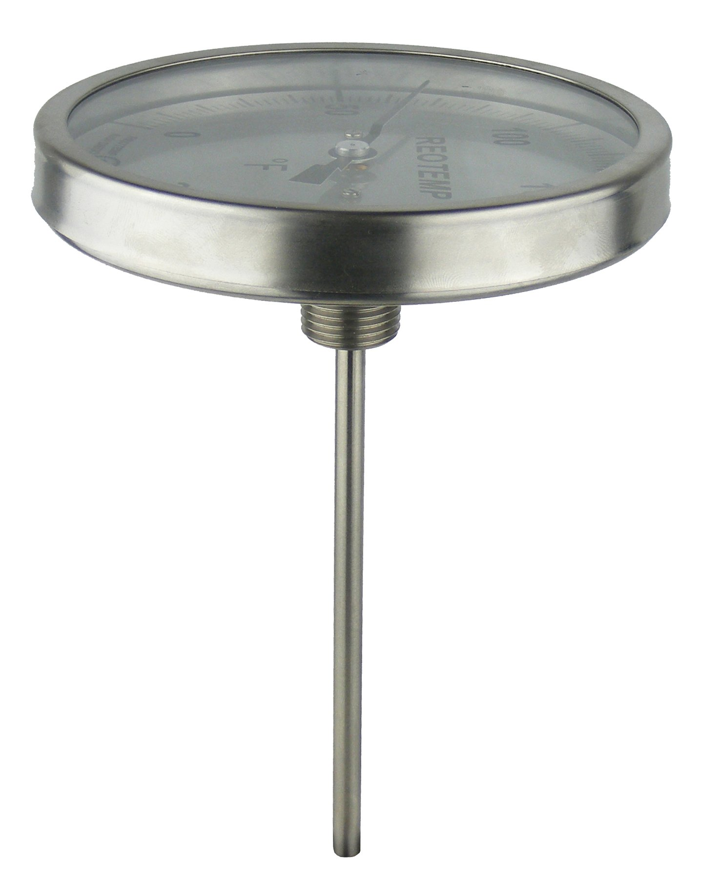 REOTEMP BB0251F43 Stainless Steel Bi Metal Thermometer, 2-1/2'' Stem, 1/2'' NPT Connection, 5'' Dial, 0 to 200 Degrees F, Back Mount