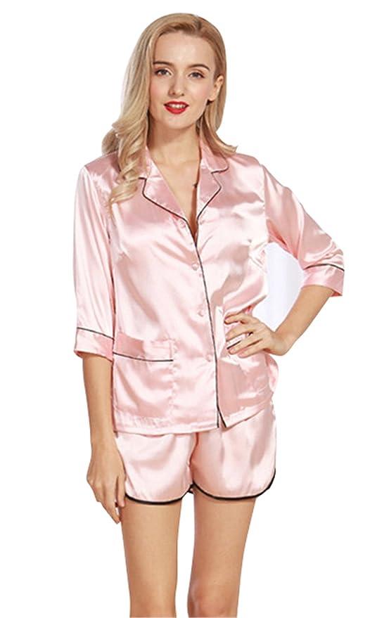SheSmile Women Summer Silk Pijamas Set Satin Short Pajamas Silk Sleepwear at Amazon Womens Clothing store: