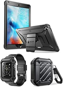 SUPCASE Unicorn Beetle iPad Bundle (Black) - iPad 9.7 inch, AirPods & Apple Watch 3 42mm Case