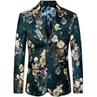 Zicac Mens' Luxury Gold Prints Stylish Suit Blazer Casual Slim Fit Two Button Closure Jacket