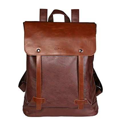 2df74d9b7baf Unisex Backpack Pu Leather Rucksack College School Satchel Laptop Work Bag  Travel Camping Backpack for Men