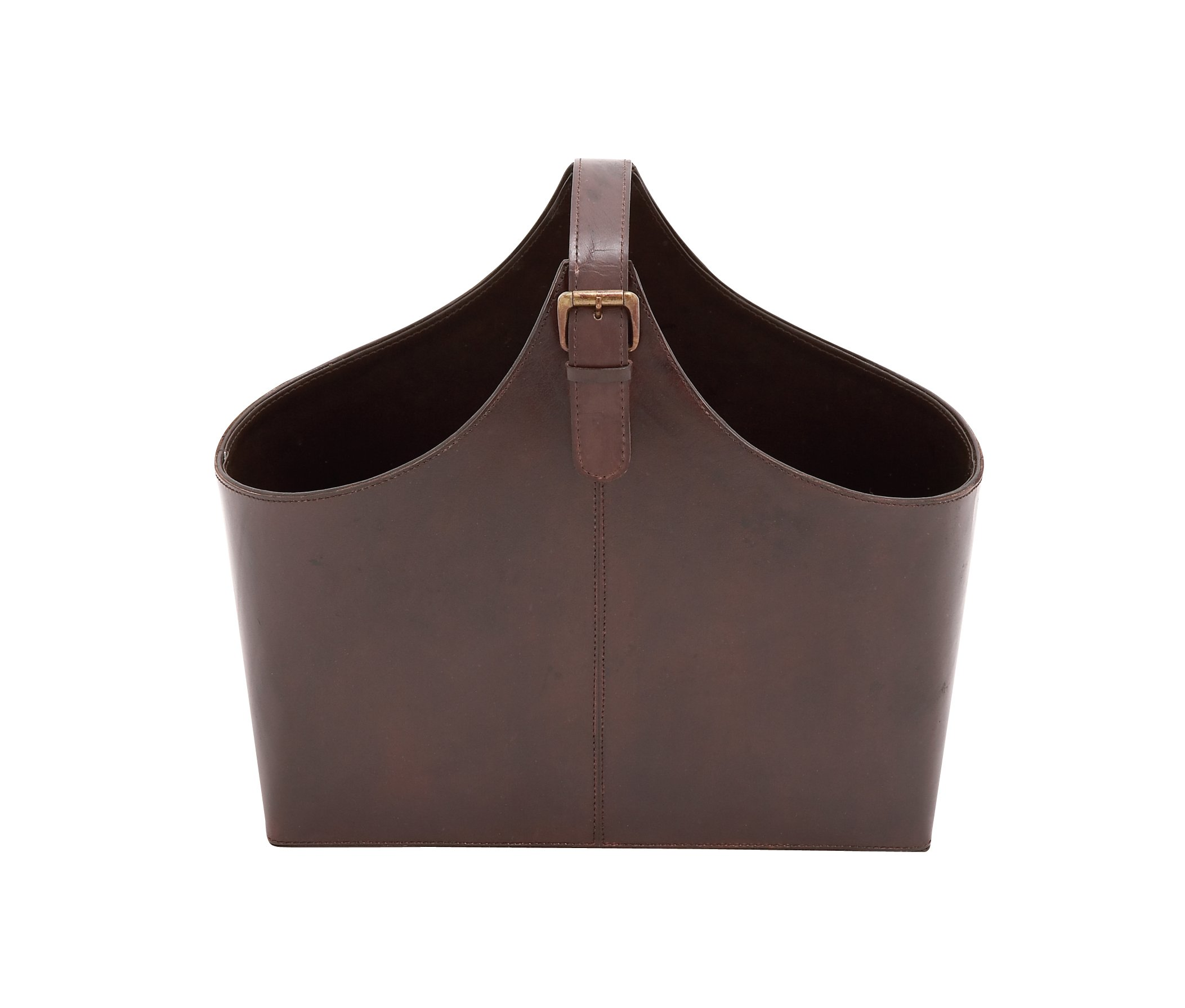 Deco 79 Wood Real Leather Magazine Holder, 16 by 14-Inch, Dark Brown