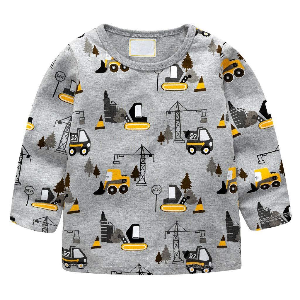 Kinder Jungen M/ädchen Langarm T-Shirt Arbeit Fahrzeug Auto Malerei Bluse Kleidung Huhu833 Baby Sweatshirts