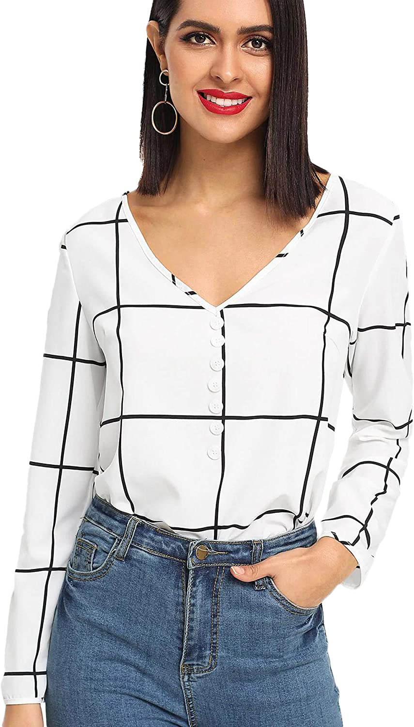 SweatyRocks Women's Casual Chiffon V Neck Plaid Long Sleeve Blouse Shirt Tops