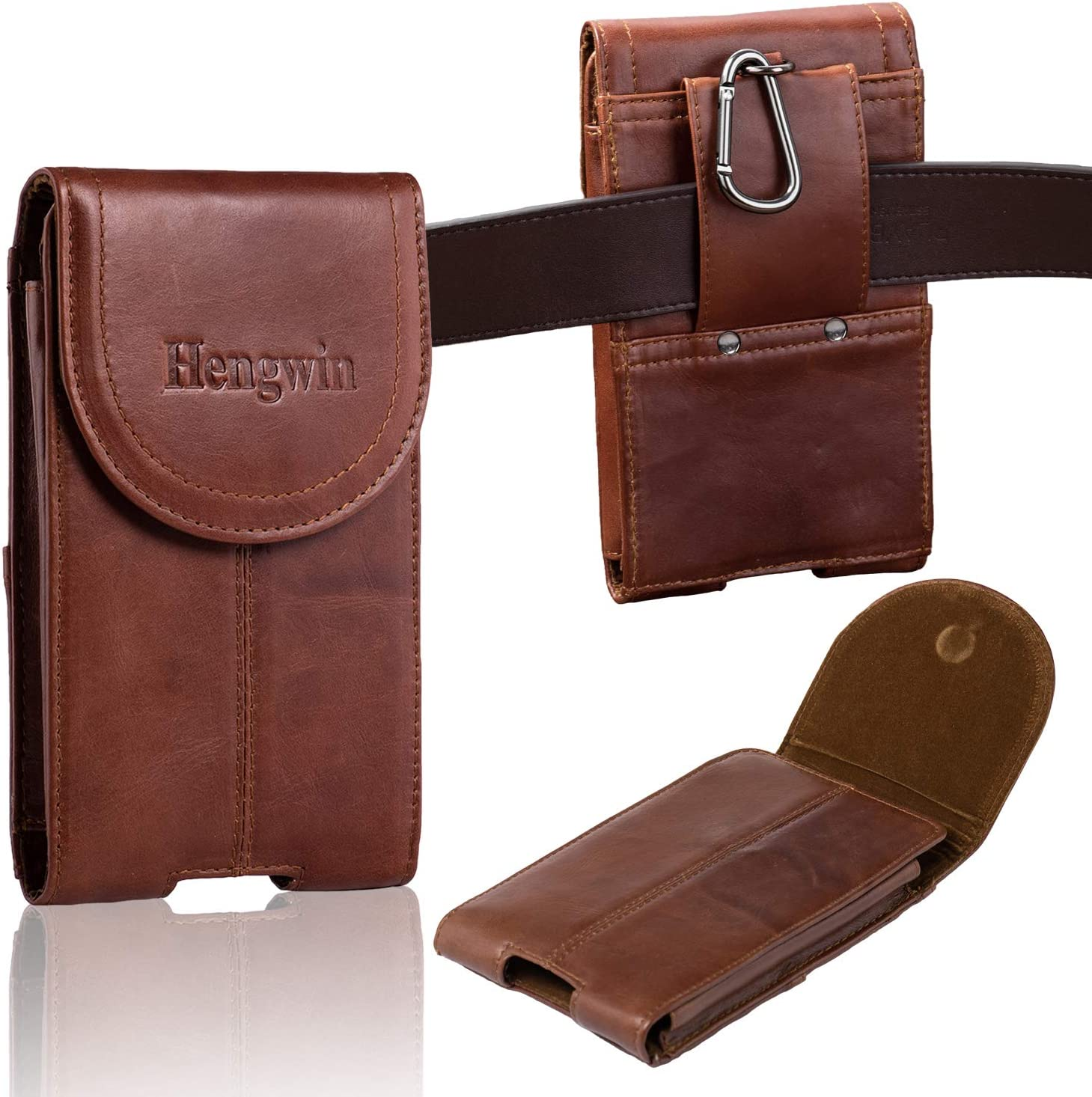 Hengwin Leather Cellphone Holster Case with Belt Clip Pouch Case for iPhone 11 Pro Max XS Max Belt Holster Pouch Belt Loop Phone Holder for Men Vertical Samsung Galaxy Note 10 9 8 Plus Holster -Brown
