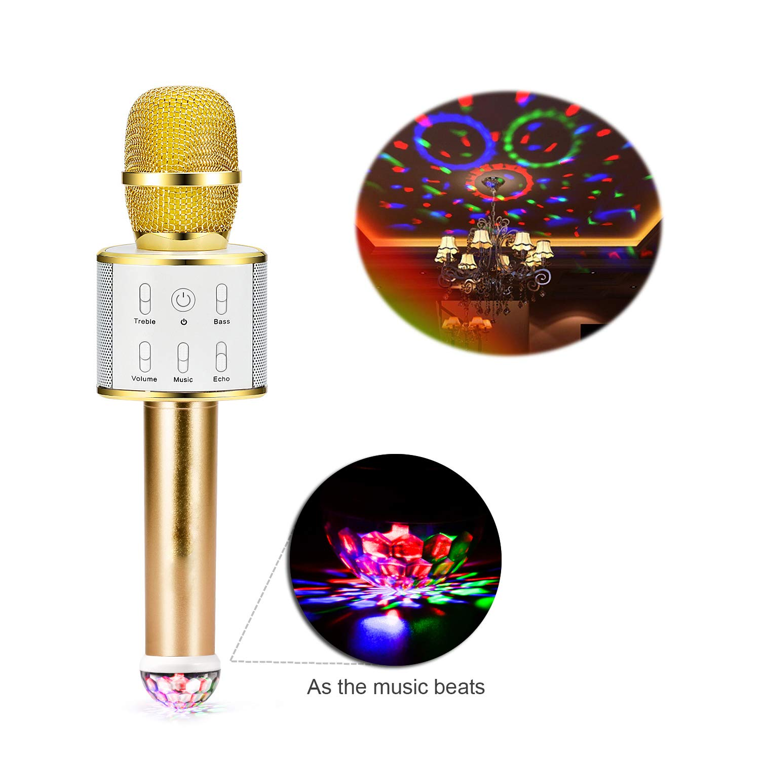 kilokelvin Wireless Bluetooth Karaoke Microphone Portable Karaoke mic Speaker with stage lights, Original Sing Mode free to switch (Purple) q8