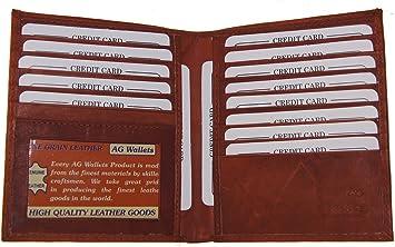 Mens Genuine Leather Bifold Wallet Slim Hipster Cowhide Credit Card ID Burgundy