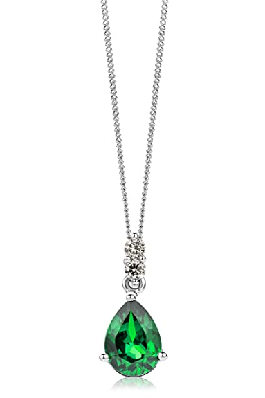 Miore Necklace - Pendant Women Yellow Gold 9 Kt/375 Emerald Chain 45 cm k8Bdl