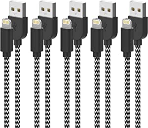 KRISLOG for iPhone Charger, MFi Certified Lightning Cable 10Ft 6Ft×2 3Ft×2 Braided iPhone Cable Data Sync Transfer Cord Compatible with iPhone 11 Pro Max/XS MAX/XR/XS/X/8/7/Plus/6S 5-Pack Updated