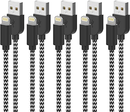 iPhone Charger Fast iPhone Charging Cable Nylon Braided Charger Lead Compatible iPhone XR XS X 11 Pro 10 8 7 6s 6 Plus iPad iPod iPhone Charger,MFi Certified UNEN Lightning Cable 5Pack 3//3//6//6//10FT