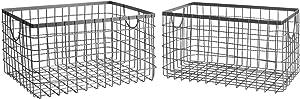 SLPR Wire Storage Shelf Basket (Set of 2) | Metal Baskets for Shelves (Industrial Grey)