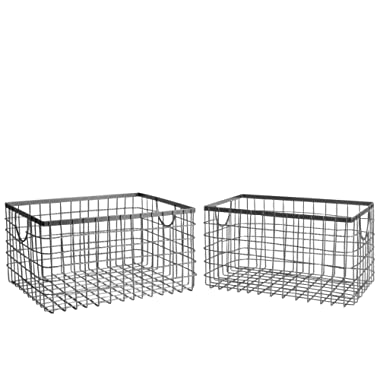 SLPR Wire Storage Shelf Basket (Set of 2) | Organizer Storage Container for Laundry Pantry Freezer Cabinet (Industrial Grey)