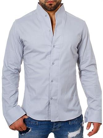 d6ed50907f06e ReRock - Camisa Casual - Básico - Cuello Mao - Manga Larga - para Hombre  Gris Small  Amazon.es  Ropa y accesorios