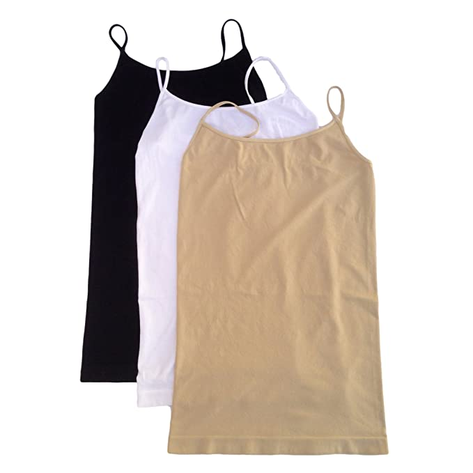 20164a71ad967 Nikibiki Long Camisole 3 Pack Style NS4011 Black White Nude One Size ...