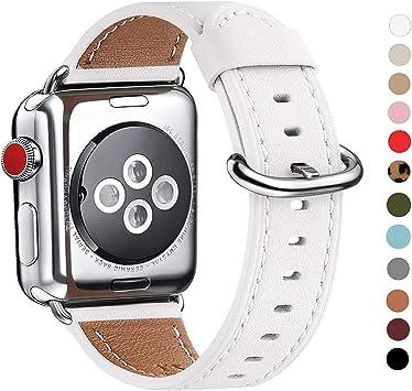 WFEAGL Correa para Correa Apple Watch 42mm 44mm 38mm 40mm, Correa de Repuesto de Cuero Multicolor para iWatch Serie 5/4/3/2/1(38mm 40mm,Blanco/Plata): Amazon.es: Electrónica