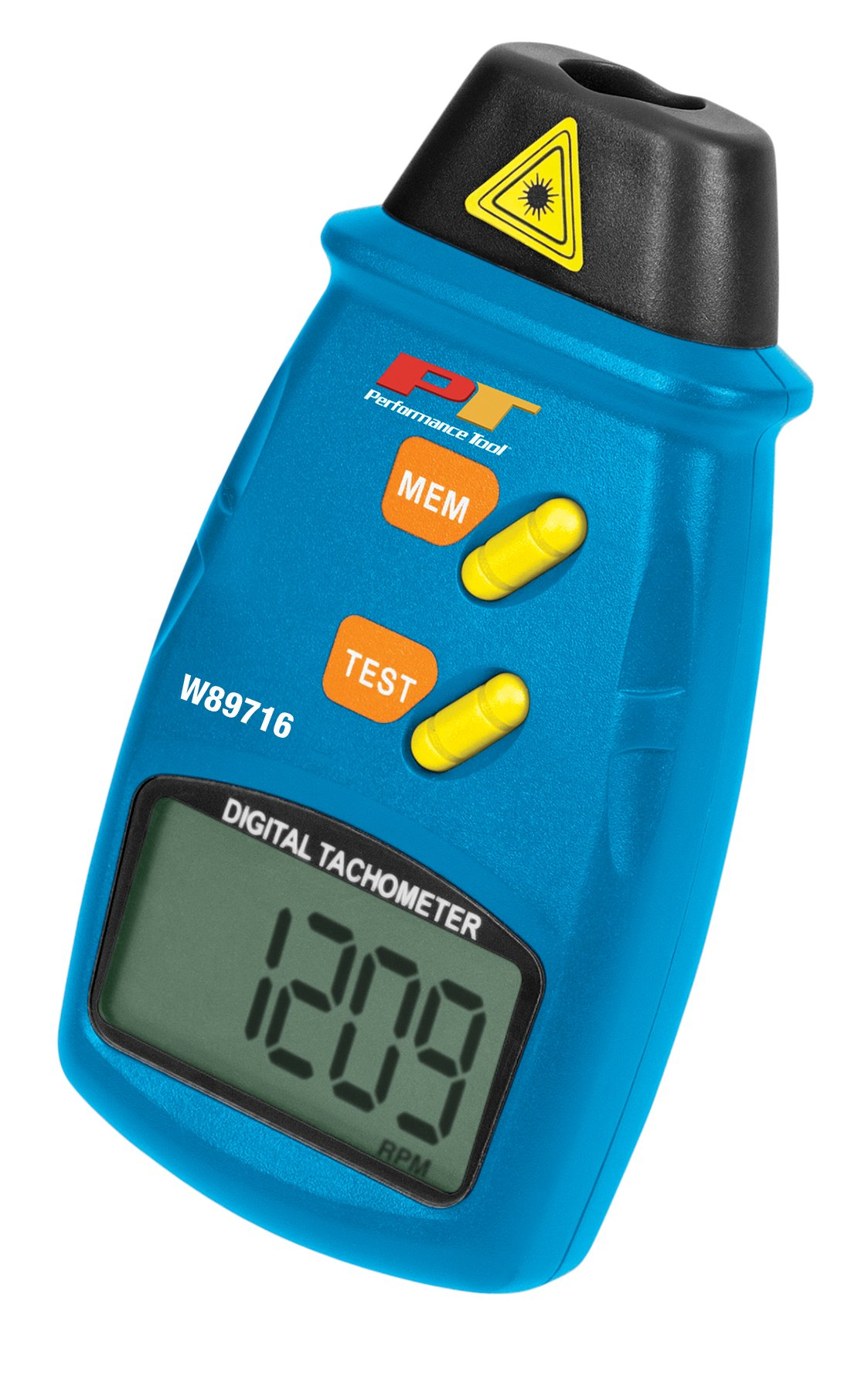 Performance Tool W89719 Professional Digital Laser LCD Tachometer Non-Contact RPM Reader with Auto Zero Adjustment for Min/Max Readings, 1 Pack