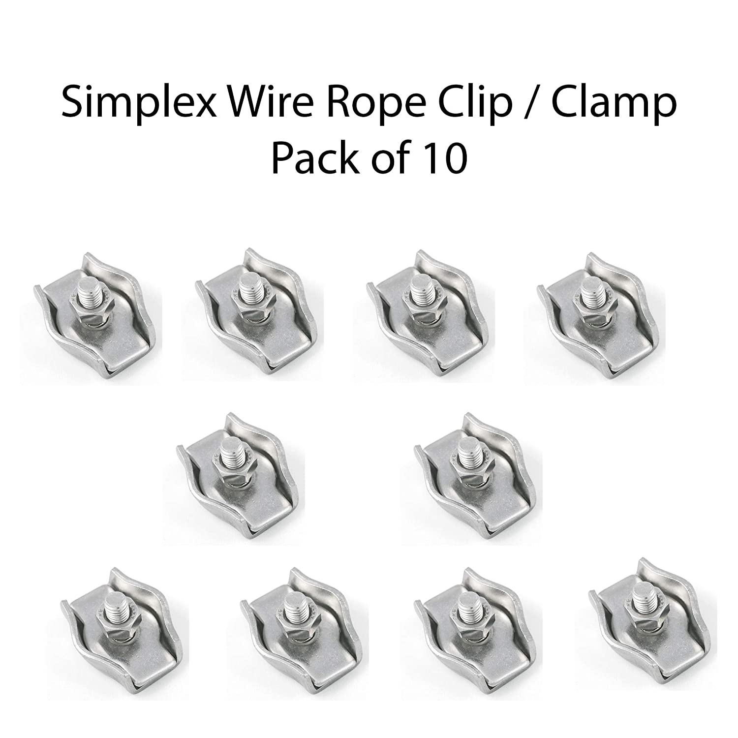 Wire Rope Cable 1mm, 10m Stainless Steel Wire Rope 7 x 7 Cable Clip Grip Single Double Bolt for Wire Clamps Thimble Marine Grade