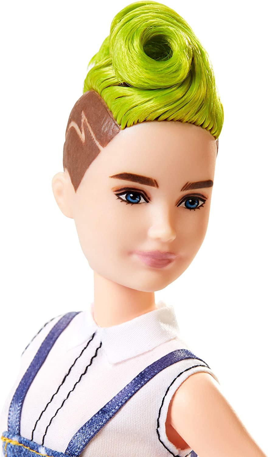 Barbie Fashionistas Doll 124 Petite with Green Mohawk and Denim Overalls