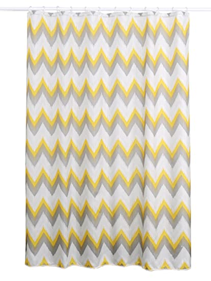 Obsessions Glam 100% Textile Polyester Shower Curtain (Yellow, White 180 X 200 cm)