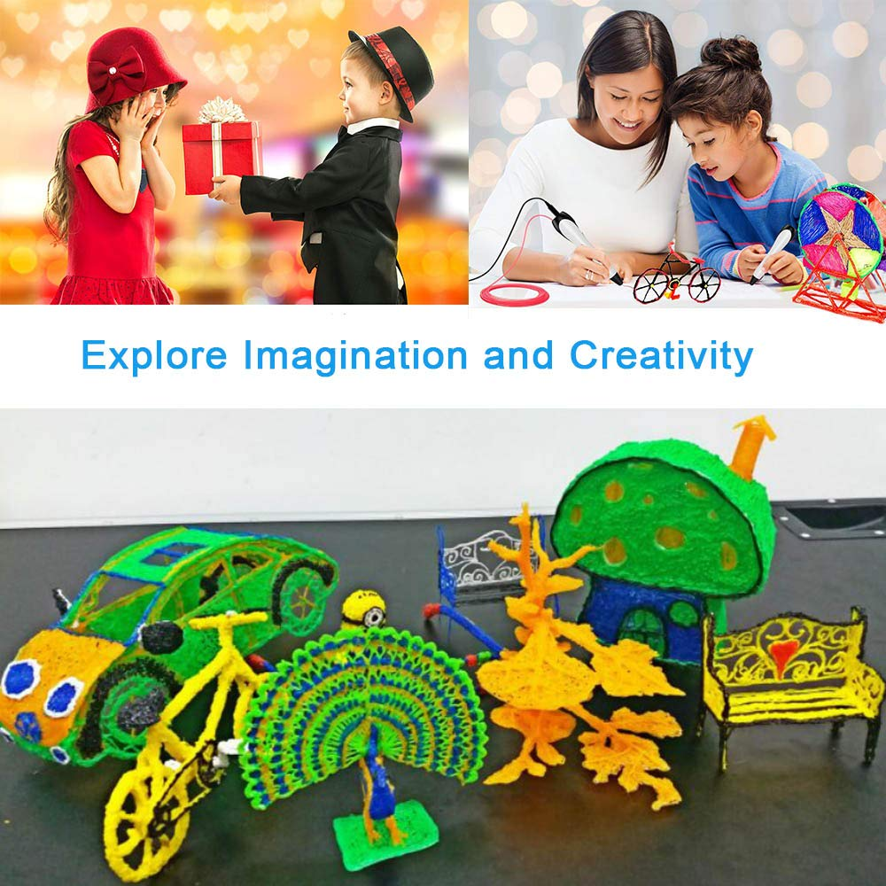 3D Pen Professional Printing Printer Drawing Pens with Bonus PLA Filament Refills 120 Feet 12 Colors Non-Clogging Easy to Control Speed for Kids Adults Arts Crafts Model DIY, Long time Working