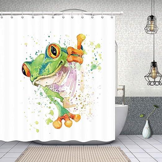 Frog pattern Waterproof Fabric Home Decor Shower Curtain Flannel Bathroom Mat