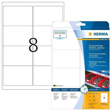 Amazon com : Herma 4575 Waterproof Labels 99 1 x 67 mm