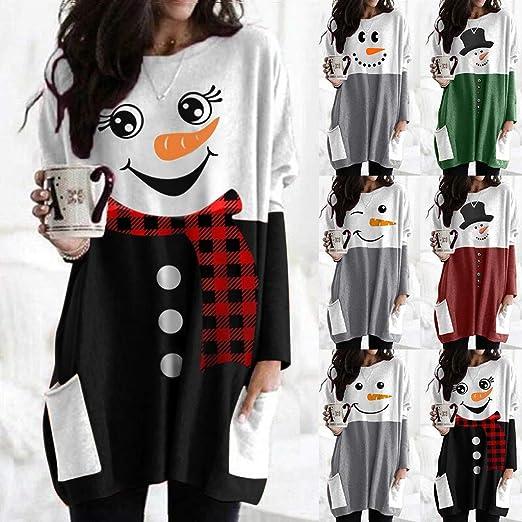 BOLANQ Plus Size Frauen Langarm Weihnachten gedruckt O-Neck Tops T-Shirt Bluse: Odzież