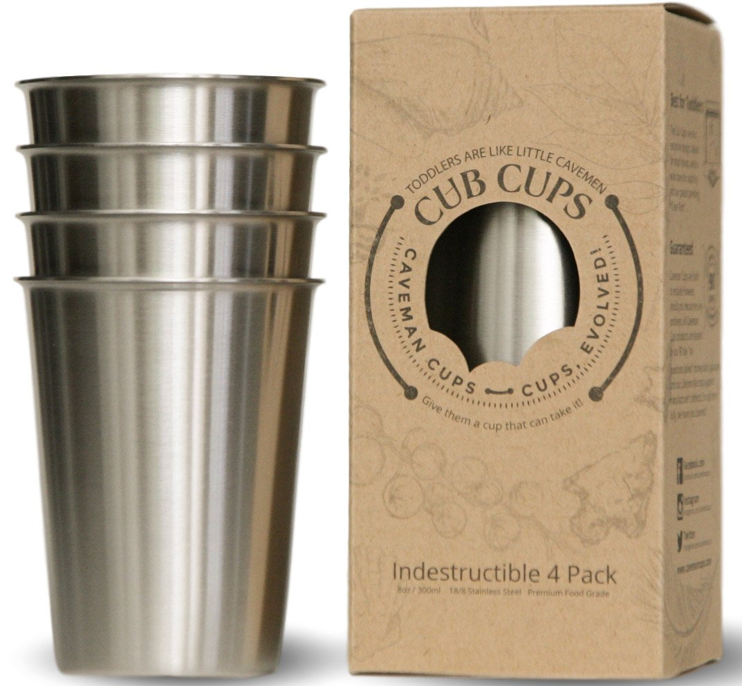 Premium Heavy Stainless Steel Cups for Kids & Toddlers. Safe Rimless 8oz 4Pack