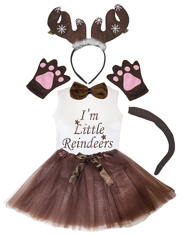 1-2 Years, Brown Snowflake Reindeer Petitebelle Snowflake Reindeer Shirt Headband Tail Glove Bowtie Tutu 6pc Costume