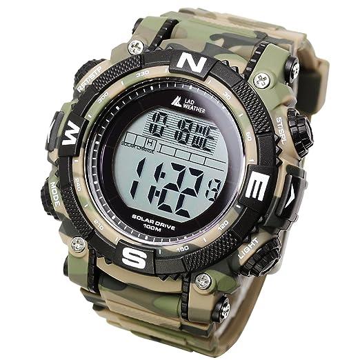[Lad Weather] Reloj digital con potente batería solar resistente al agua hasta 100 metros SmartWatch militar, para exterior: Amazon.es: Relojes