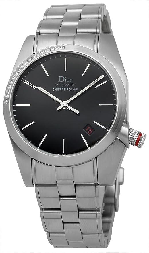 Christian Dior Hombre cd084512 m001 Chiffre Rouge Fija Bisel Set con Diamantes Reloj: Christian Dior: Amazon.es: Relojes