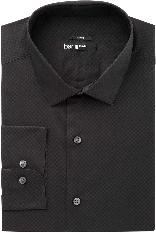Bar III Mens Medium Slim Fit Stretch Dot Dress Shirt